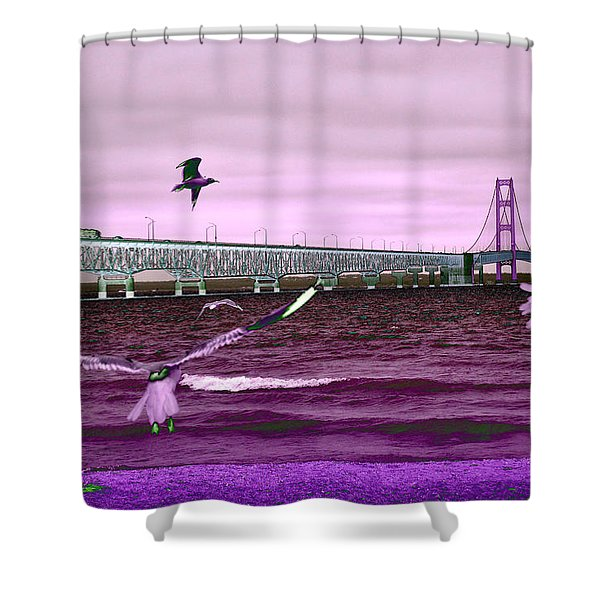Mackinac Bridge Seagulls Shower Curtain