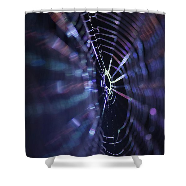 Macro Of A Spiders Web Captured At Night. Shower Curtain
