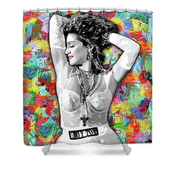 Shower Curtain featuring the painting Madonna Boy Toy by Carla B