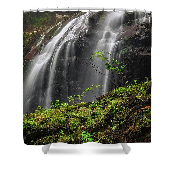 Magical Mystical Mossy Waterfall Shower Curtain