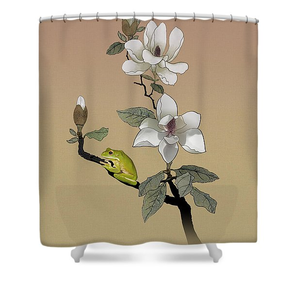 Magnolia And Tree Frog Shower Curtain