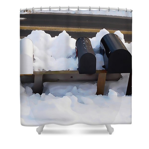 Mailboxes Covered In Snow 1 Shower Curtain