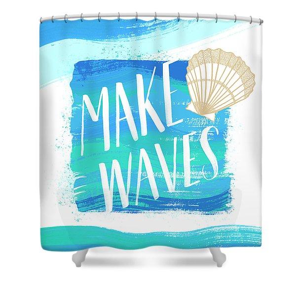 Make Waves Seashell Coastal Art Shower Curtain