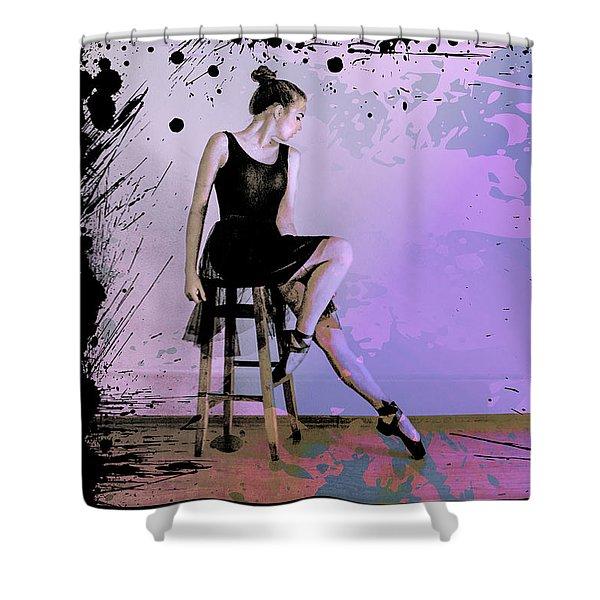Shower Curtain featuring the digital art Maksim Grunge Ballet Dancer by Robert G Kernodle