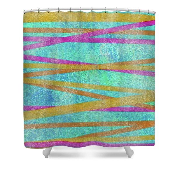 Malaysian Tropical Batik Strip Print Shower Curtain