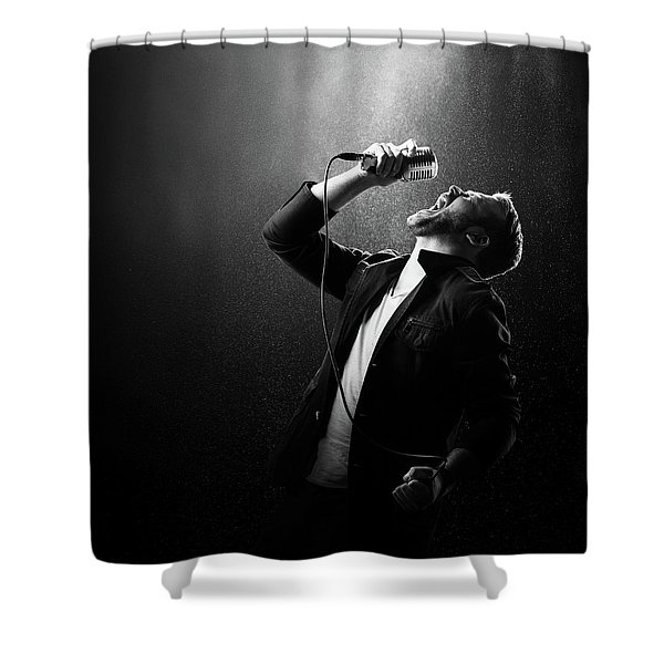 Male Singer Performing Shower Curtain