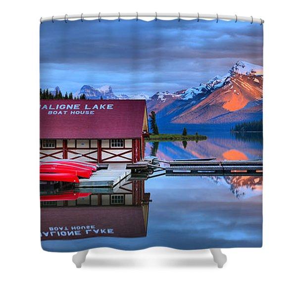 Maligne Lake Sunset Spectacular Shower Curtain
