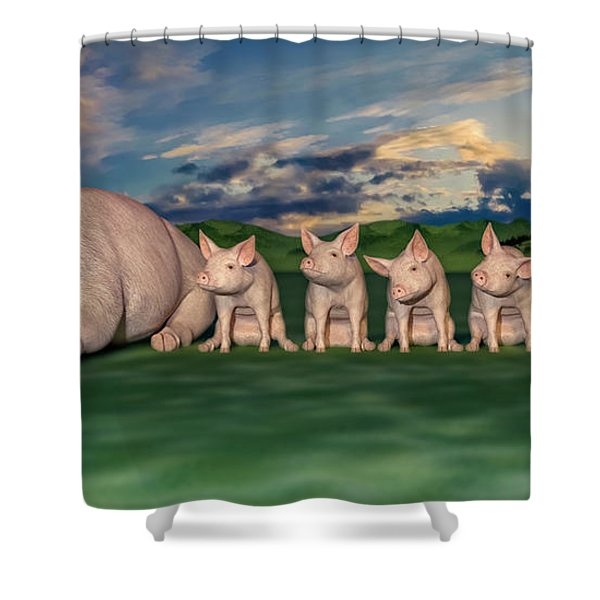 Mamma And Her Little Clones Shower Curtain
