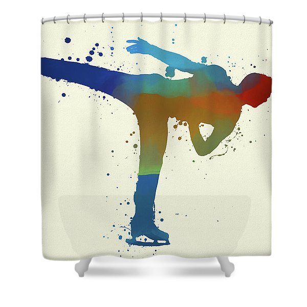 Man Figure Skating Shower Curtain