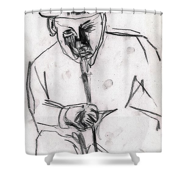 Man In Top Hat And Cane Shower Curtain