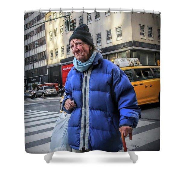 Man Vs. City Shower Curtain
