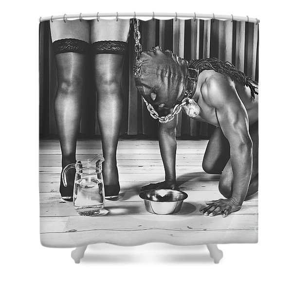 Man With Mask On His Knees Beside His Mistress Shower Curtain