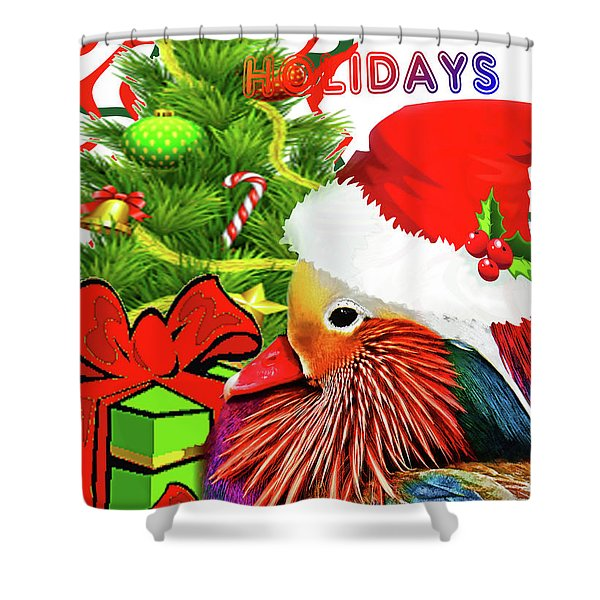 Mandy Mandarin Duck Holiday Greeting Shower Curtain