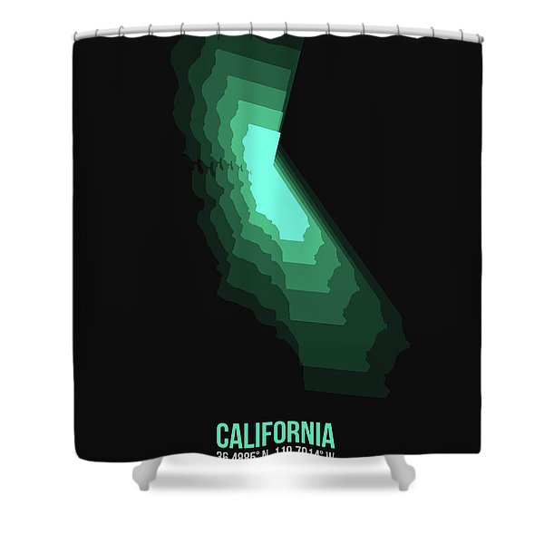 Map Of California Teal Shower Curtain