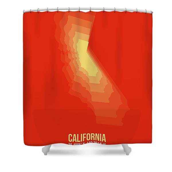 Map Of California Yellow Shower Curtain