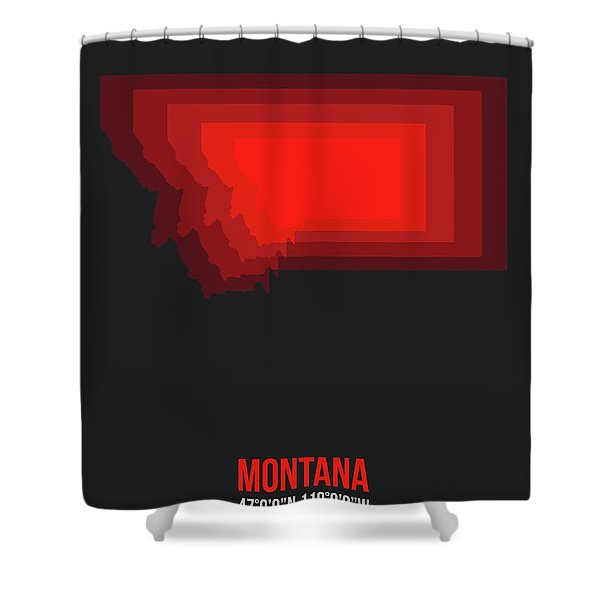 Map Of Montana Red Shower Curtain