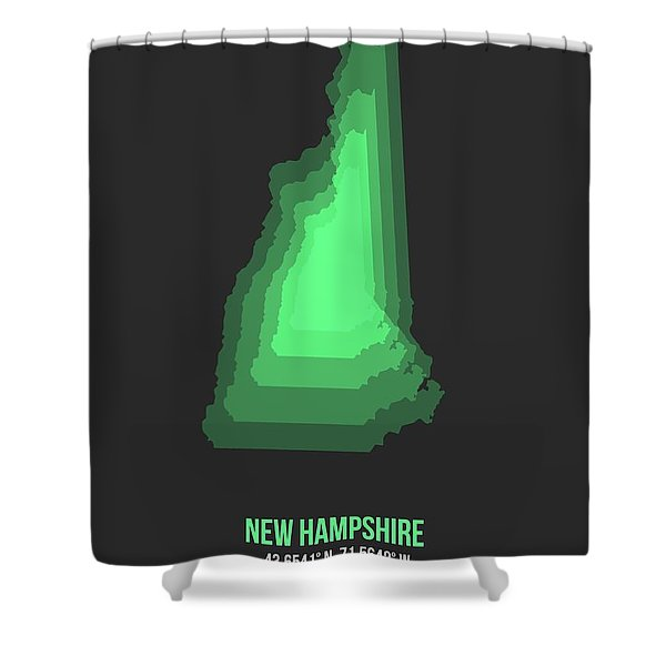 Map Of New Hampshire Green Shower Curtain