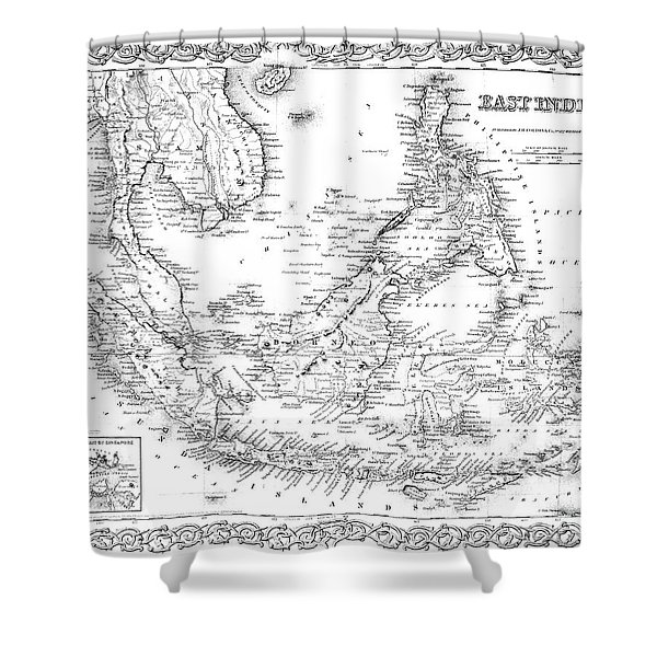 Map Of The East Indies  Engraving Shower Curtain
