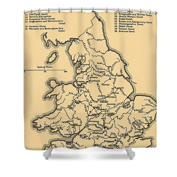 Map Of The Main Rivers And Canals In England Shower Curtain