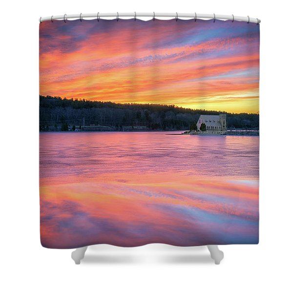March Sunset At The Old Stone Church Shower Curtain