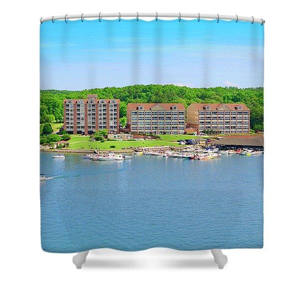 Mariners Landing Poker Run Shower Curtain