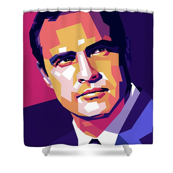 Marlon Brando Illustration Shower Curtain