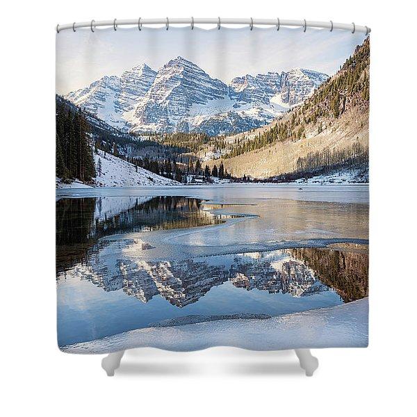 Maroon Bells Reflection Winter Shower Curtain