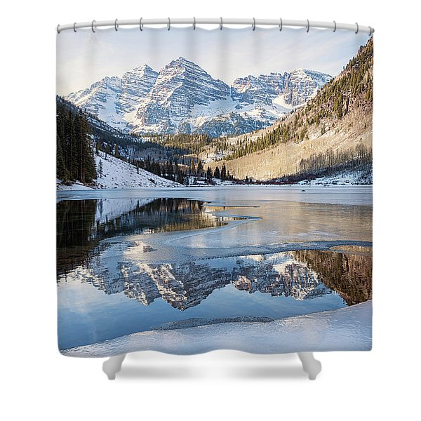 Maroon Bells Reflection Winter Shower Curtain
