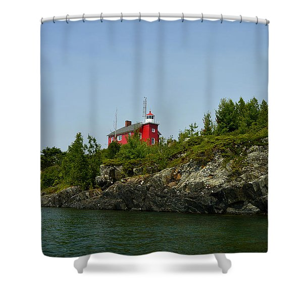 Marquette Michigan Lighthouse Shower Curtain
