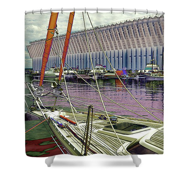 Marquette Ore Dock Lower Harbor. Shower Curtain