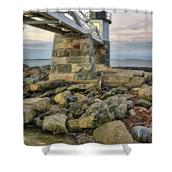 Marshall Point Light From The Rocks Shower Curtain
