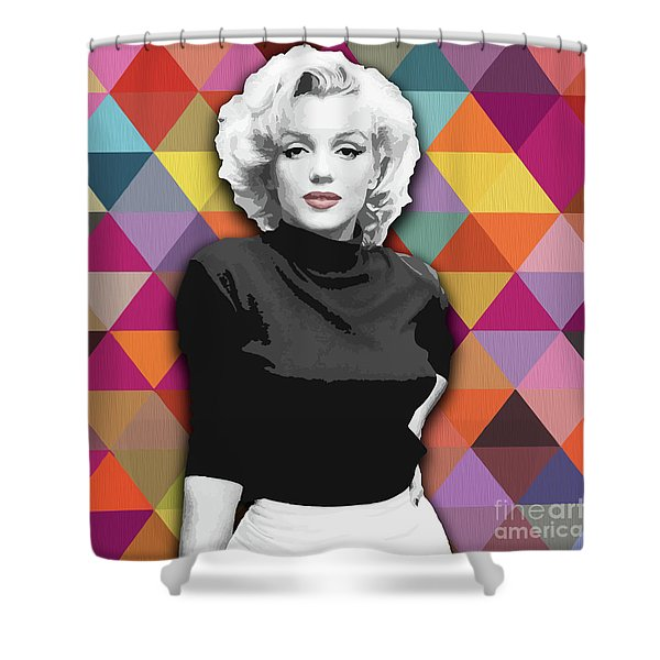 Shower Curtain featuring the painting Marylin Monroe Diamonds by Carla Bank