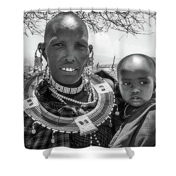 Masaai Mother And Child Shower Curtain