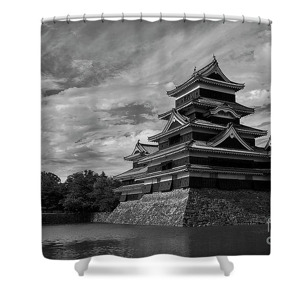 Matsumoto Castle Japan Black And White Shower Curtain