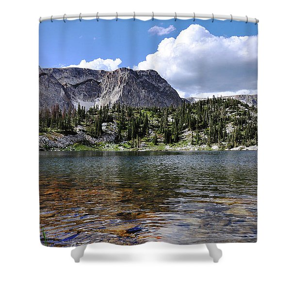Medicine Bow Peak And Mirror Lake Shower Curtain