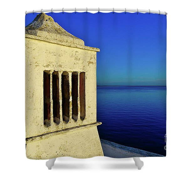 Mediterranean Chimney In Algarve Shower Curtain