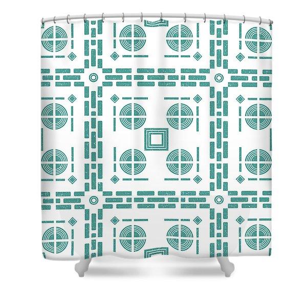 Mediterranean Pattern 5 - Tile Pattern Designs - Geometric - Blue - Ceramic Tile - Surface Pattern Shower Curtain