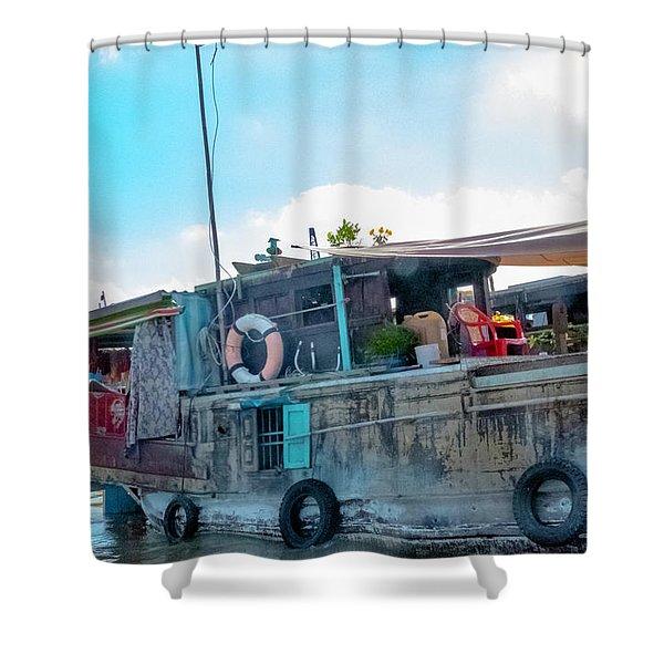 Mekong Delta Boat, Vietnam Shower Curtain