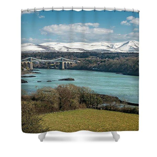 Menai Bridge Anglesey Shower Curtain