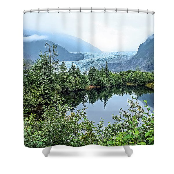 Shower Curtain featuring the photograph Mendenhall Glacier 1 by Dawn Richards