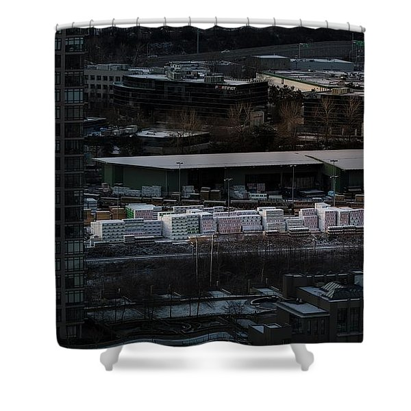 Shower Curtain featuring the photograph Merchandise Beside A Railroad Track  by Juan Contreras