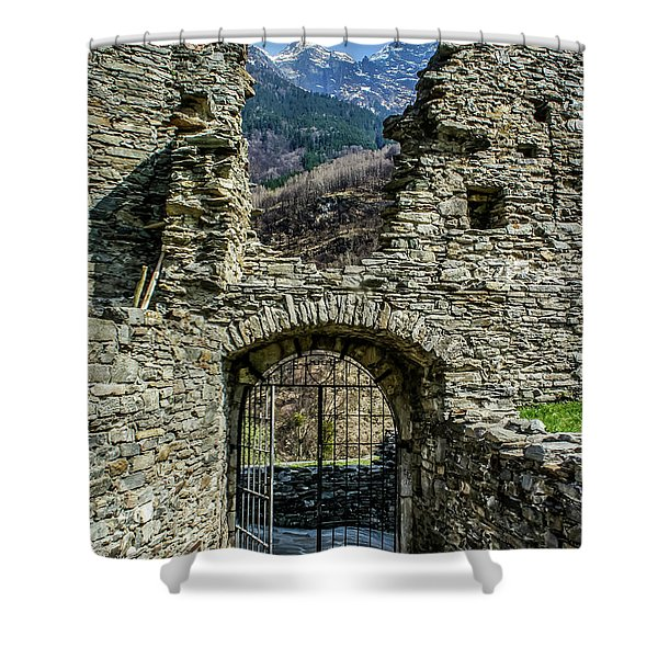 Shower Curtain featuring the photograph Mesocco Castle Gate With Mountains by Dawn Richards