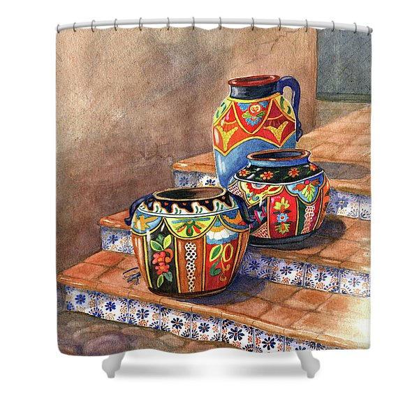 Mexican Pottery Still Life Shower Curtain