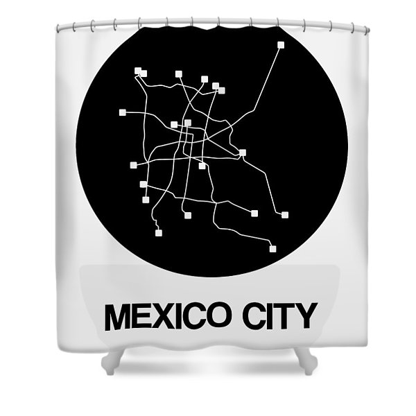 Mexico City Black Subway Map Shower Curtain