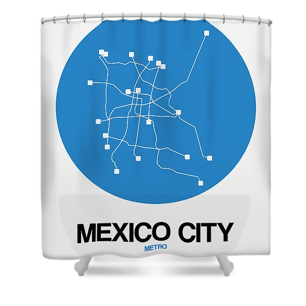 Mexico City Blue Subway Map Shower Curtain