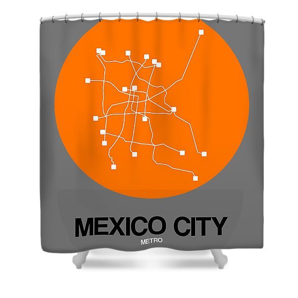 Mexico City Orange Subway Map Shower Curtain