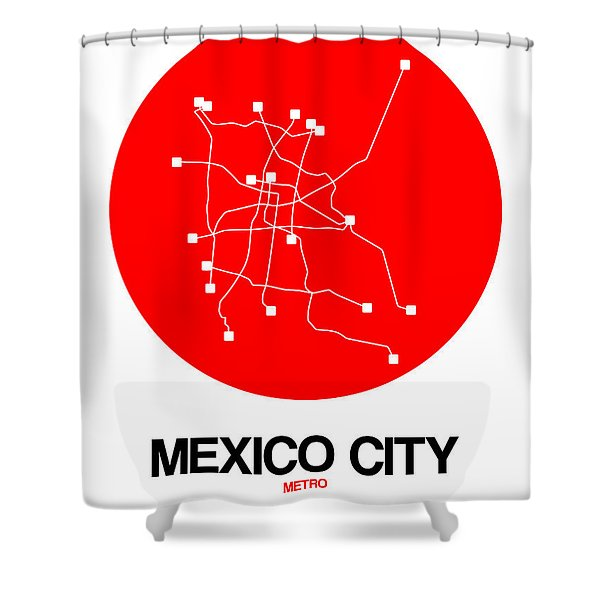 Mexico City Red Subway Map Shower Curtain