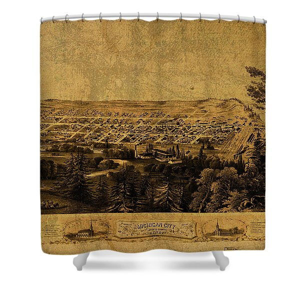 Michigan City Indiana Vintage City Street Map 1869 Shower Curtain
