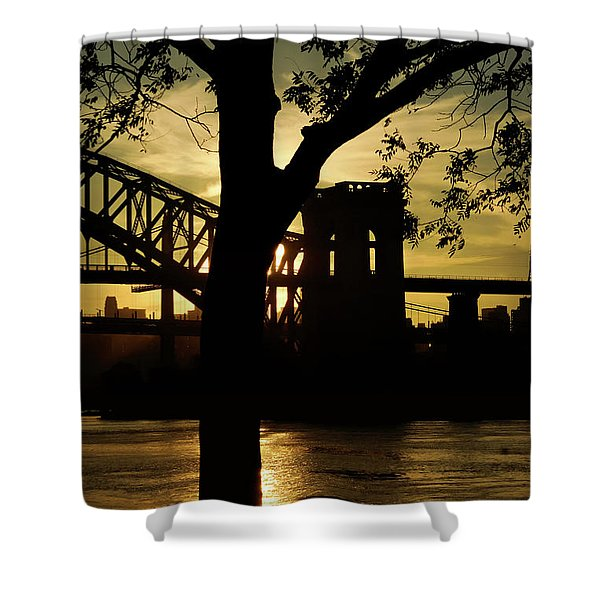 Mid Autumn Silhouette Shower Curtain