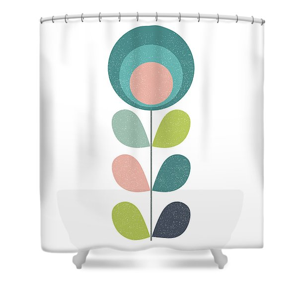 Mid Century Modern Teal Flower I Shower Curtain